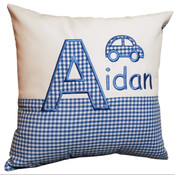 Personalised little car gingham cushion