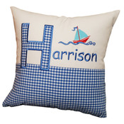 Personalised Sailor gingham cushion