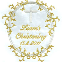 Christening Personalised Blanket...Gold Thread and Satin Thumbnail